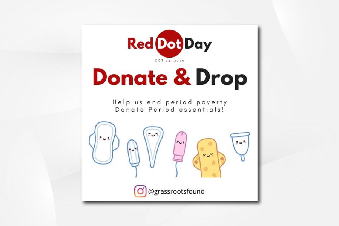 red dot donate drop